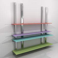 2012 Estantería ENCUENTRO II. Medidas de los estantes: 2 de 240 x 45 cm. y 2 de 240 x 30 cm. Diseñada por Ernesto Oñate. (Los colores de las lejas varían según la disponibilidad de PORCELANOSA).