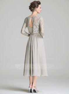 Forme Princesse Amoureux Longueur mollet Mousseline Robe de mère de la mariée avec Plissé (008072687) - JJsHouse