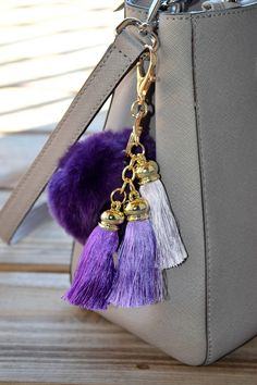 Keychain, Fur Pom Pom, Fur Ball Keychain, Fur Keychain, Fur Keychain, Gold Keychain, Fur Bag Charm, purple color by ZEnella on Etsy https://www.etsy.com/listing/275634344/keychain-fur-pom-pom-fur-ball-keychain