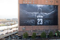 A Nike advertisement of Lebron James of the Cleveland Cavaliers is seen on the Landmark Office Towers building on October 30, 2014 in Cleveland, Ohio.