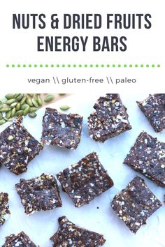 Nuts & Dried Fruits Energy Bars are packed with various nuts, seeds, and dried-fruits. It is a flexible recipe that can be adapted to your pantry, taste, and lifestyle!#gluten-free#paleo Easy No Bake Desserts, Low Carb Desserts, Delicious Desserts, Yummy Food, Vegan Desserts, Pavlova, Dessert Sauces, Dessert Recipes, Snack Recipes