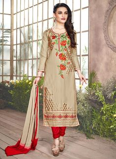 Straight Cut Style Brown with Mirror Work Astounding Unstitched Salwar Kameez