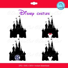 Disney castles silhouette for cutting scrapbooking by DolphinCut