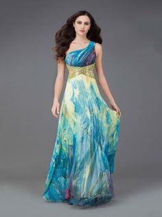 Φόρεμα βραδινό εμπριμέ με έναν ώμο - Βραδυνά Φορέματα