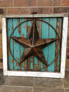 Salvaged Antique Window Frame with Texas Star. Would do this without the Texas Antique Window Frames, Antique Windows, Old Windows, Do It Yourself Furniture, Do It Yourself Home, Western Style, Country Decor, Rustic Decor, Rustic Outdoor