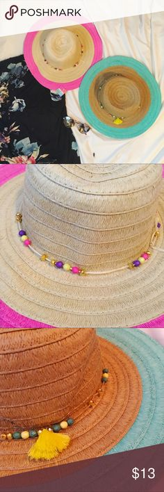 ☀️🎩 Set of Two Sun hats 🎩☀️NWT totally adorable! New With Tags. one hat has pink and the other turquoise. I love the cute details on the hat like the mini tassel and the beautiful beadwork. Accessories Hats