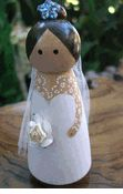 Wood Cake Toppers : Jeweled Princess Bride  Tulle Veil,  Bouquet & Crystals Brown Hair $14