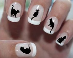 56 DECALS Black Cats 1 - Familiar Symbols - Nail WRAPS Nail Art Water Slide Transfers Nail Stickers