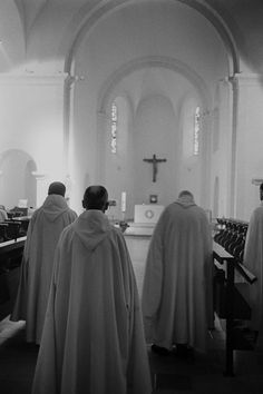 Trappist monks at Abbaye N-D. des Neiges,07590 St-Laurent-les-Bains, France. (B&W Photo from the 1990's)