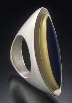 Mirror-cut aquamarine rings, 18ky & 18kw