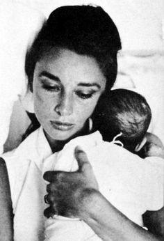 Audrey Hepburn with newborn Sean, 1960.