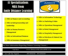 The Post Is about MBA from Amity Distance Learning - Specializations Offered, Career Prospects of MBA from Amity School of Distance Learning.MBA from Amity University Distance Learning is a 2-year degree program. Amity University offers 11 specializations in distance learning MBA. Further, in this post, you will be reading the 11 specializations in MBA from Amity Distance Learning and how they are helpful for your career.