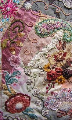 I ❤ crazy quilting, beading embroidery . Lorenza's block On this block, the part I made is the wool embroidery (crewel embroidery): the big flower at the left bottom, the small pink, the leave and acorns and the light pink curls. -By brodanni Crewel Embroidery, Silk Ribbon Embroidery, Embroidery Patterns, Quilt Patterns, Embroidery Supplies, Block Patterns, Embroidery Tattoo, Embroidery Needles, Crazy Quilting