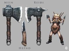Grida's steal by Fesbraa twin throwing axes dagger female barbarian fighter dwarf human weapons equipment gear magic item | Create your own roleplaying game material w/ RPG Bard: www.rpgbard.com | Writing inspiration for Dungeons and Dragons DND D&D Pathfinder PFRPG Warhammer 40k Star Wars Shadowrun Call of Cthulhu Lord of the Rings LoTR + d20 fantasy science fiction scifi horror design | Not Trusty Sword art: click artwork for source
