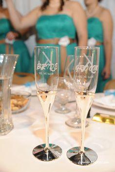 Etched Bride & Groom champagne flutes