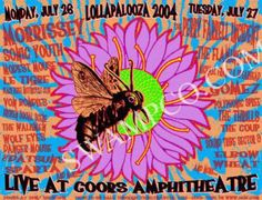 Original silkscreen concert poster for Lollapalooza at the Coors Amphitheatre, Denver, CO 2004. 22 x 18 inches. Signed