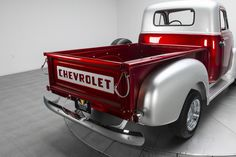 SUMMARY * Candy Apple Red & Metallic Silver paint * Custom red and silver interior * 235 cubic inch engine * Muncie manual. Chevrolet 3100, Chevrolet Malibu, Chevrolet Trucks, Custom Pickup Trucks, Classic Pickup Trucks, Hot Rod Trucks, Toy Trucks, 53 Chevy Truck, Old Chevy Pickups