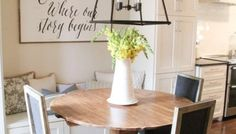DIY Round Table - As Seen on HGTV Open Concept We have had a lot of request for the free plans to this round table that we built, for the Nicholson's breakfast nook, for our pilot Open Concept on HGTV! Pedestal Table Base, Wood Table Bases, Wood Pedestal, Round Table And Chairs, Diy Dining Table, Oval Table, Kitchen Dining, Round Farmhouse Table, Farmhouse Chic