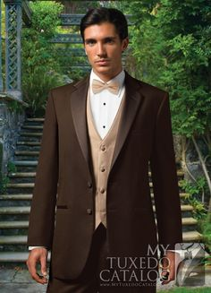The Chocolate 'Premier' Tuxedo by Jean Yves is a bold and beautiful alternative to a traditional tuxedo.  As far as the styling of the tuxedo is concerned, it's very traditional.  It features a two button front, satin notch lapels, self top collar, satin besom pockets, and is non vented.  But the fact that it is made from a rich brown Super 100's Wool instead of traditional black makes it perfect for daytime formal wear, garden weddings, destination weddings, and proms!  A great way to stay…