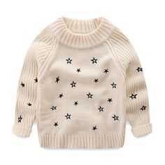 ac00036d588 Amazon.com  Mud Kingdom Toddler Girls Pullover Sweaters Cute Embroidered  Stars  Clothing
