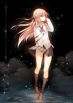 Anime picture 				707x1000 with  		original 		niya 		tidsean 		long hair 		single 		tall image 		light erotic 		pink hair 		cloud (clouds) 		inscription 		fringe 		braid (braids) 		wind 		heterochromia 		collarbone 		single braid 		walking 		side braid 		girl 		skirt