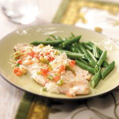 Veggie-Topped Tilapia Recipe from Taste of Home :; shared by Christine Bissonette of Scotia, New York :: http://pinterest.com/taste_of_home/