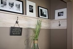 Simple board and coat hooks with Ralph Lauren Tobacco stain. Like paint color on walls too!