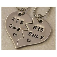 Gift Ideas For Couples, Matching Couples Necklaces Dog Tags Sets ❤ liked on Polyvore