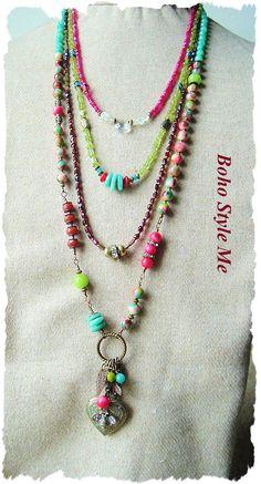 Boho Colorful Gemstone Necklace Multiple Strand by BohoStyleMe