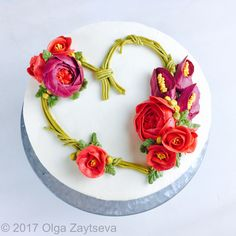 Heart shaped flower wreath cake for Valentine's Day