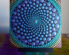 "Metallic Purple Dot Mandala, 4"" x 4"" Mini Painting on Wood Block, Black Easel for Display, Dot Painting, Sacred Geometry, Dot Mandala"