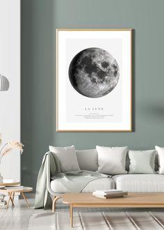 LA LUNE - illustrations art prints for sale #art #prints #printshop #printsforsale #bedroomprints Interior Styling, Interior Decorating, Wall Art Prints, Poster Prints, Grey Wall Art, Black And White Prints, Moon Print, Simple Prints, Custom Wall