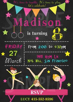 Gymnastics Chalkboard Birthday Invitation  Girl Gymnastics