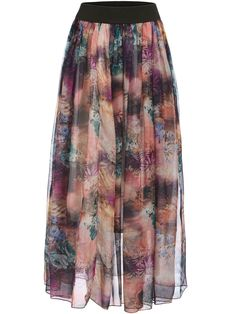 Multicolor Floral Pleated Skirt  -SheIn