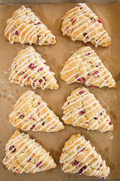 Cranberry Orange Scones with Vanilla Cream Glaze | Cooking Classy