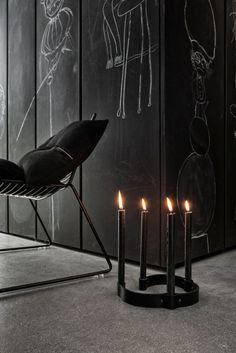 BLACK BEDROOM INTERIOR DESIGN , PERFECT CANDELABRA ACCENT PIECE , GRUNGE GOTHIC CHIC   -Rich Beverly Hills Fashion Kid