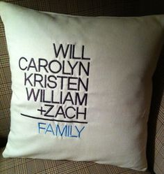 Wicked Stitches' #custom #embroidered #Family Math #Pillow adds up to fun! #WickedStitchesGifts