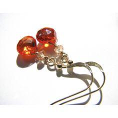Brilliant Orange Zircon Gemstone Earrings, Real Semi Precious Stone... (€20) via Polyvore featuring jewelry, earrings, crown earrings, gem earrings, semi precious stone earrings, fake jewelry and beaded jewelry