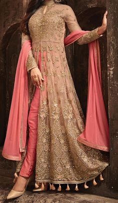 Salmon Pink & Beige Designer Heavy Embroidered Net Wedding Anarkali Lehenga - Her Crochet Party Wear Indian Dresses, Indian Gowns Dresses, Party Wear Lehenga, Dress Indian Style, Pakistani Bridal Dresses, Pakistani Dress Design, Net Dresses, Bridal Anarkali Suits, Indian Wedding Gowns