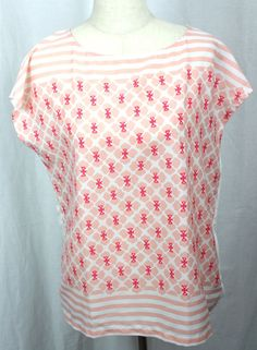 Tommy Hilfiger Womens Coral Peach Design Sleeveless Pullover Top Size Large #TommyHilfiger #Shell #Versatile