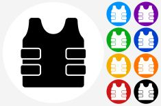 Bulletproof Vest Icon on Flat Color Circle Buttons vector art illustration