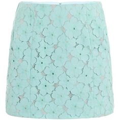 Diane von Furstenberg Clyde skirt. Love the floral lace in this light aqua hue!
