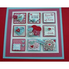 Framed Collage - Valentines Theme - Stampin Up - 3D Squares - Shadowbox Frame - Inchies. $29.00, via Etsy.