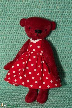 Kicsi piros teddy mackó (TVAgi) - Meska.hu Mac, Teddy Bear, Toys, Animals, Products, Animales, Animaux, Toy, Teddybear