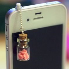 Kawaii LOVE BOTTLE with Pink Hearts Iphone by fingerfooddelight, $8.50