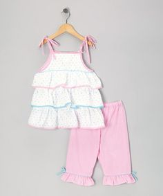Love this White Polka Dot Tier Tunic & Pink Capri Pants - Infant & Toddler by Petit Pomme on #zulily! #zulilyfinds