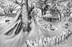 desenho em grafite paisagem de inverno - Pesquisa Google