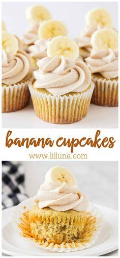 banana dessert recipes These Banana Cupcakes are so SOFT and have a delectable hint of cinnamon. They are also topped with a delicious cinnamon cream cheese frosting, making them Food Cakes, Cupcake Cakes, Easy Cupcake Recipes, Easy Cheesecake Recipes, Simple Cupcake Recipe, Baking Recipes Cupcakes, Cupcake Recipes From Scratch, Cupcake Flavors, Cupcake Ideas