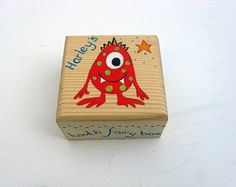 Children's personalised tooth fairy box with monster design, Hand-painted personalised trinket box, Boys or Girls wooden tooth fairy box