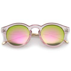 Transparent Metal Temple Keyhole Bridge Mirror Lens P3 Round Sunglasses 50mm  #frame #sunglass #sunglasses #clear #mirrored #summer #oversized #womens #cateye #bold